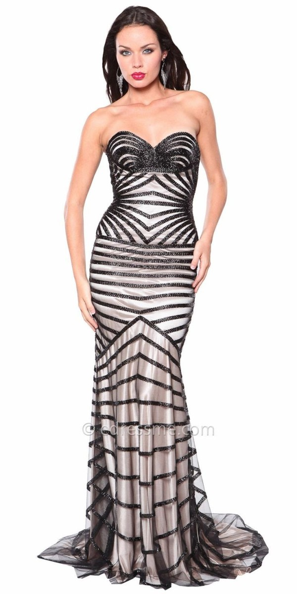 Atria Embellished Sweetheart Striped Gown