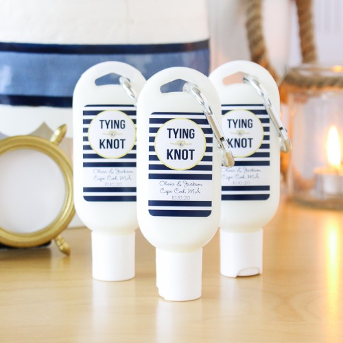 wedding favor Beau-Coup Personalized Sunscreen With Carabiner