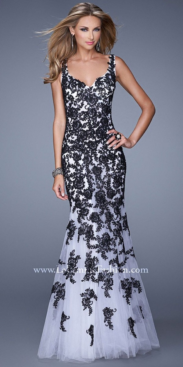Black Floral Lace Trumpet Dress