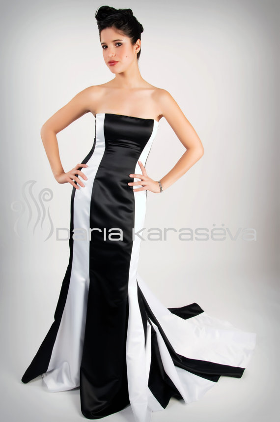 Daria Karaseva Black and White Wedding Dress2