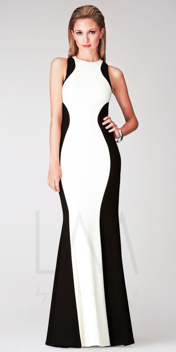 Halter Color Blocked Long Dress