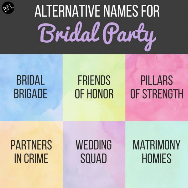BuzzFeed Alternative Names for Wedding Party